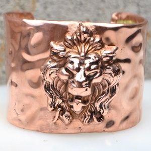 Copper Lion Cheetah leopard Cuff Bracelet Gothic